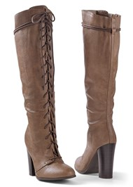 Front view Lace Up Tall Boots