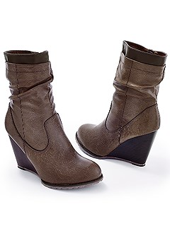 slouchy wedge bootie