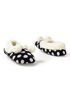 pom pom polka dot slippers