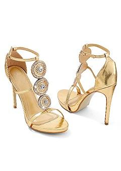 rhinestone medallion heel
