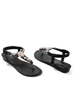 embellished stretch sandal
