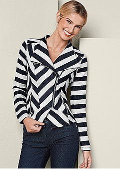 stripe zipper detail blazer