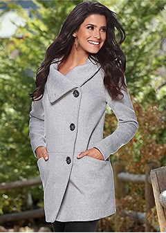 asymmetrical button up coat
