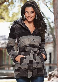 aztec belted coat