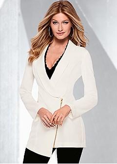 zipper detail long blazer