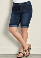 plus size long jean shorts
