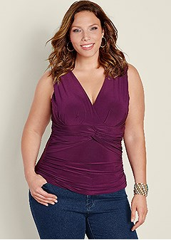 plus size knot front sleeveless top