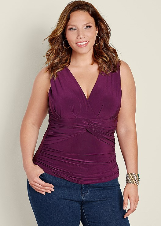 78e8cc8b55350 Plus Size KNOT FRONT SLEEVELESS TOP