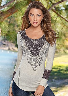 lace and graphic print top