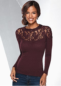 lace neckline detail top