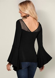 Back view Embroidered Bell Sleeve Top