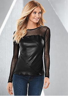faux leather and mesh top