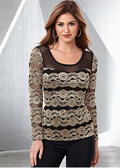 lace and mesh long sleeve