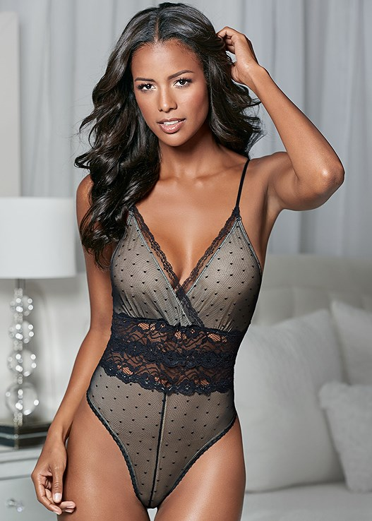SWISS DOT AND LACE BODYSUIT