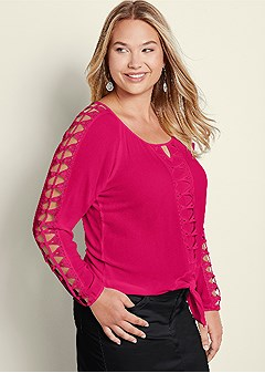 plus size cut out sleeve blouse