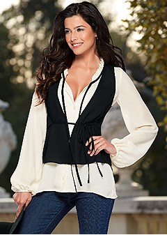 vest overlay blouse