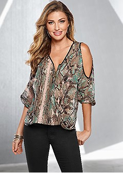 zip up snake print top