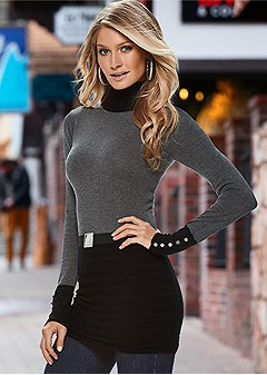 belted turtleneck sweater