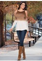 Front view Ombre Cold Shoulder Sweater