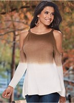 ombre cold shoulder sweater