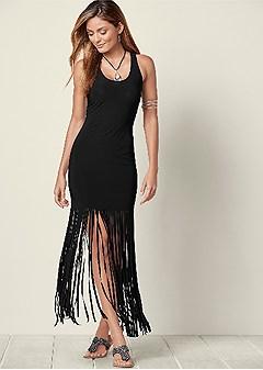 fringe detailed maxi dress