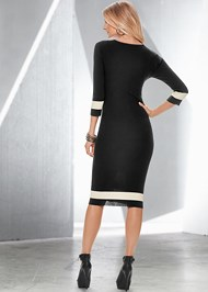 Back view Color Block Sweater Dress