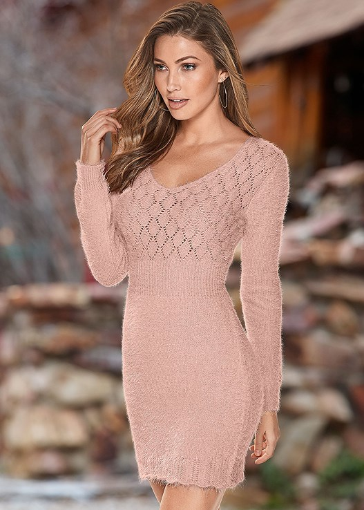 Cozy Sweater Dress in Light Pink | VENUS