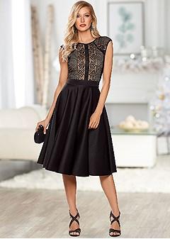 lace detail cocktail dress
