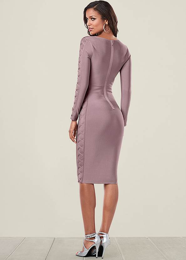 Back view Slimming Lace Up Dress