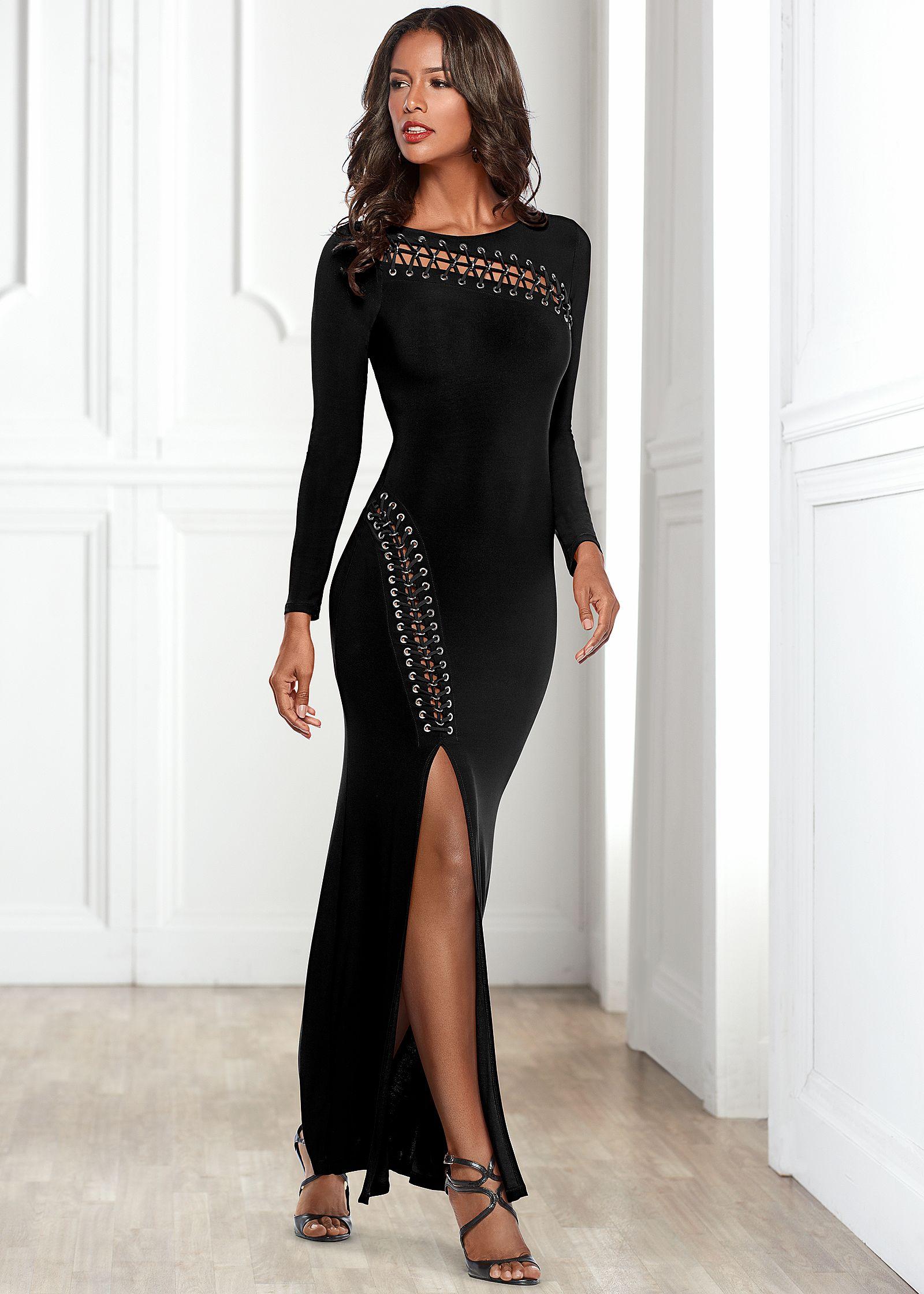 Long black cocktail dresses for women