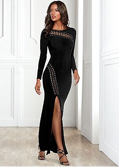 lace up detail long dress