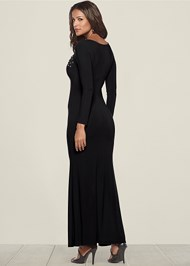 Back view Lace Up Detail Long Dress