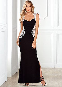 lace detailed long dress