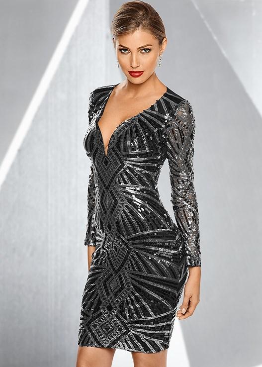All Over Sequin Dress in Black & Silver | VENUS
