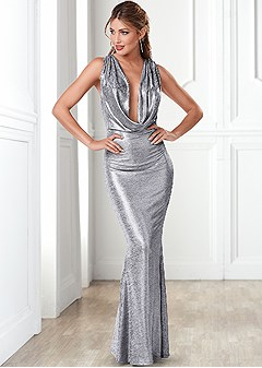 metallic long dress