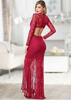 cut out lace long dress