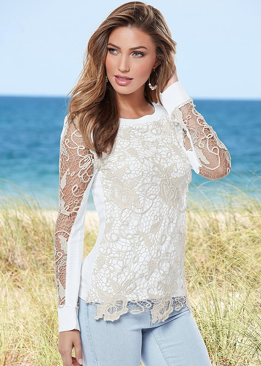 LACE DETAIL SWEATSHIRT