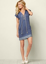Front View Grommet Detail Lounge Dress