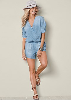 chambray long sleeve romper