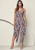 f91e693e0180 STRAPLESS PRINTED JUMPSUIT in Blue   Black