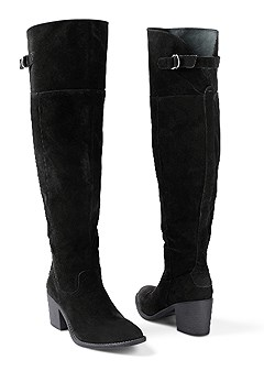 buckle faux suede boot