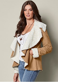 waterfall shearling coat