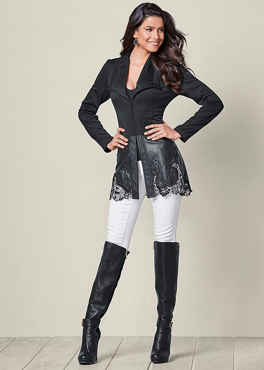 FAUX LEATHER DETAIL JACKET,SEAMLESS CAMI,COLOR SKINNY JEANS