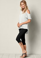 side ruching capri leggings