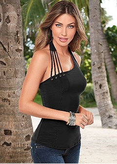 strap detail halter top