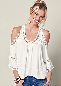 e56ef7981ea6c7 cold shoulder lace trim top