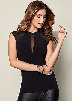 mesh inset cap sleeve top