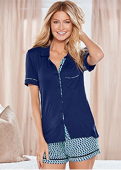button down pajama set