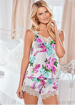 floral strappy pajama set