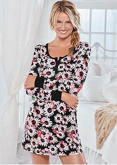 floral henley sleep shirt